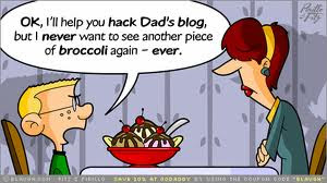 kid talking about hacking dads blog with mom