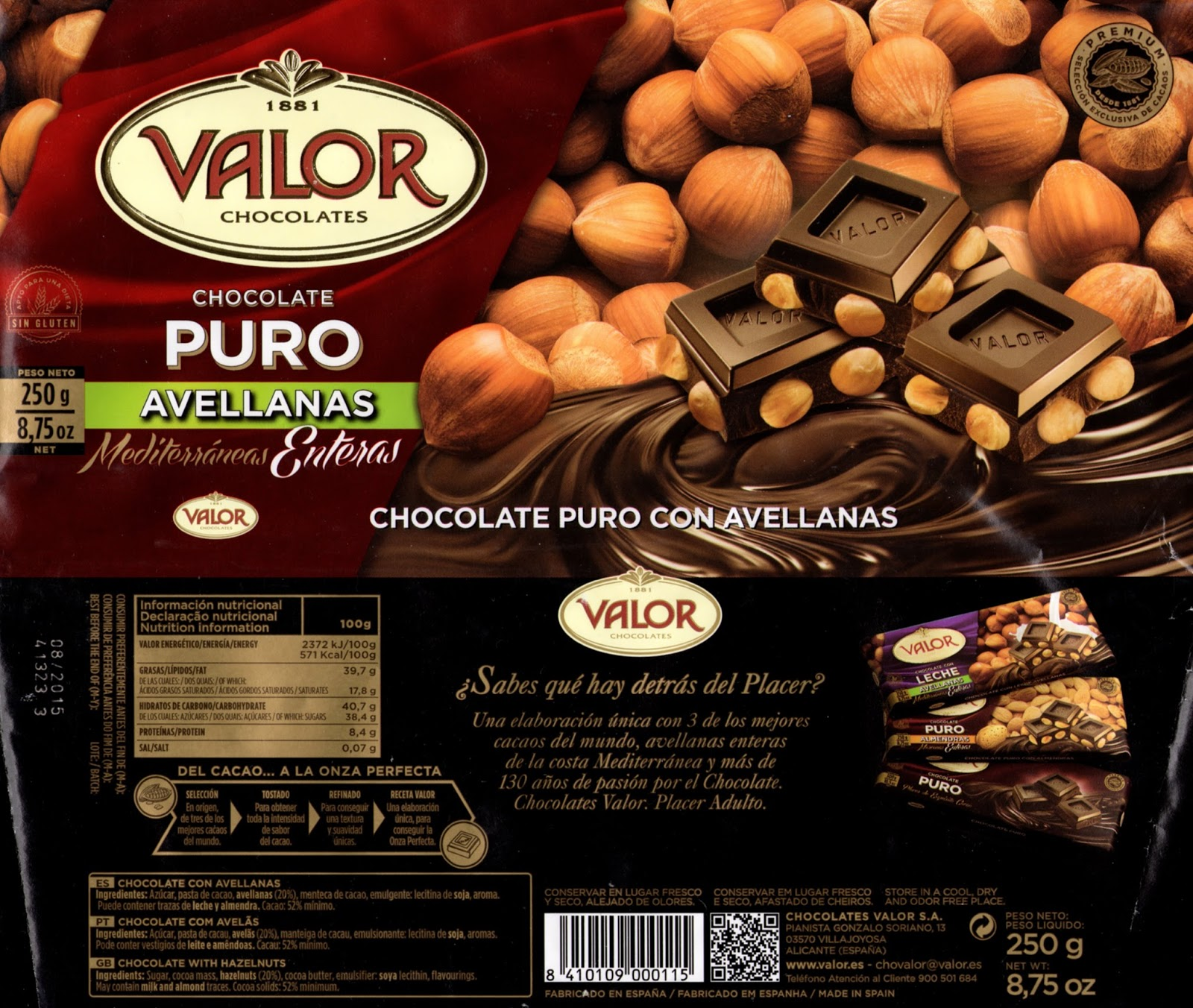 tablette de chocolat noir gourmand valor chocolate puro con avellanas