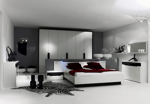 Luxury bedroom interior design idea modern home for Minimalist black and white bedroom