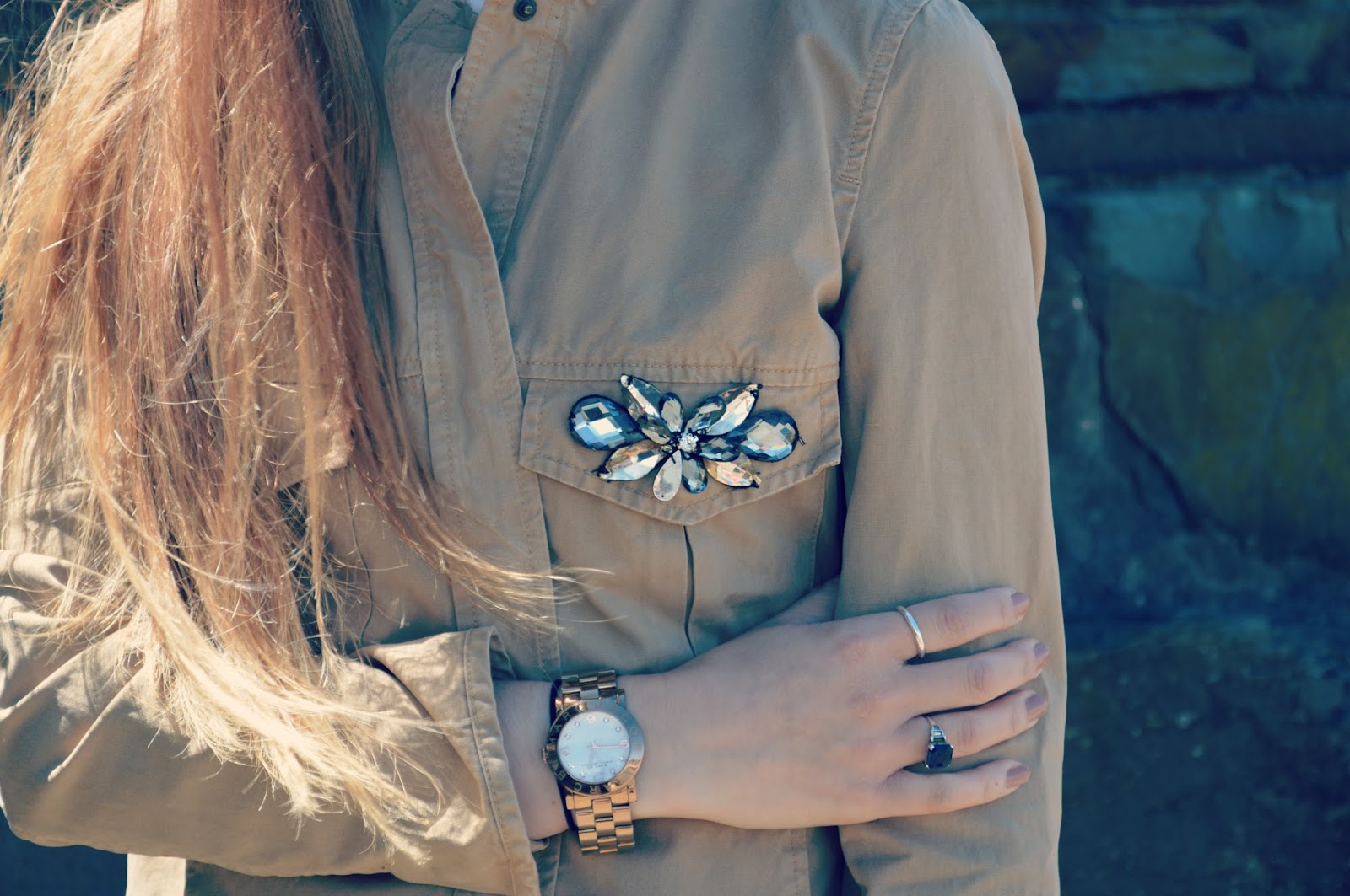 zara gem detail jacket daniella draper rings vintage rings marc jacobs watch
