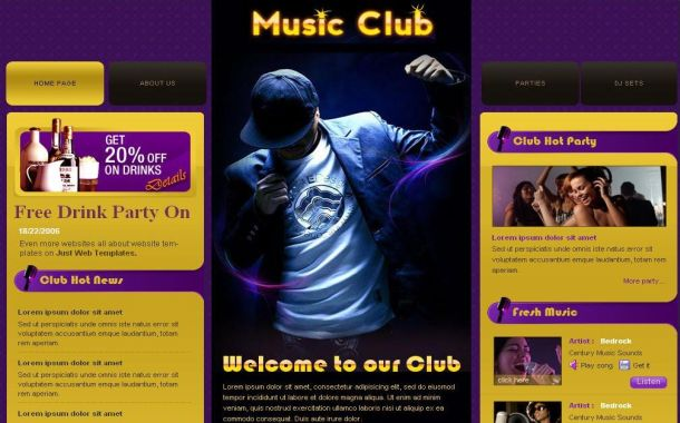 Free Purple Yellow Music Club CSS Website Template