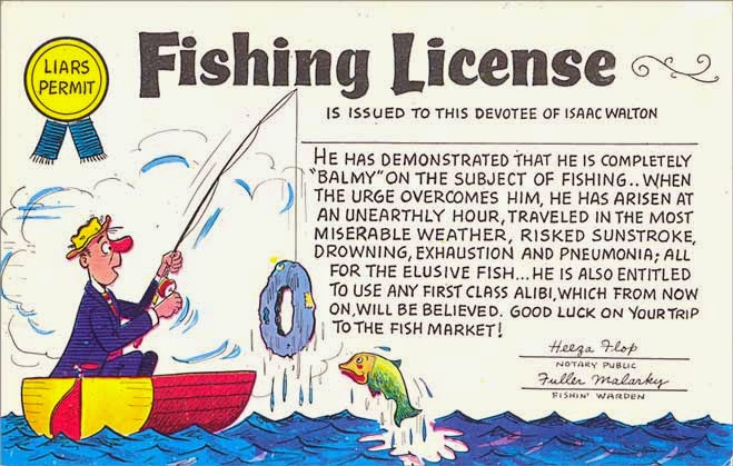 Postcard gems fishing license liars permit for Dicks fishing license