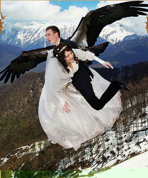 flying russian wedding funny