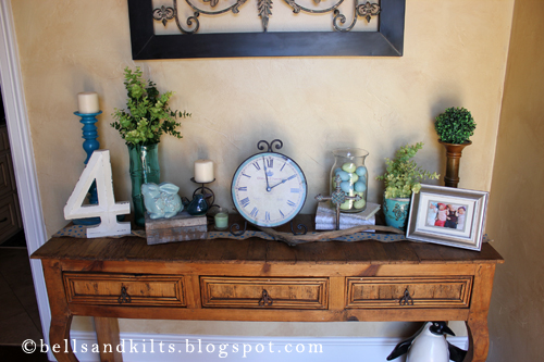 everything other than the three aforementioned and newly purchased items were picked up from other areas in my home and repurposed for the entry table - Entry Table Decor