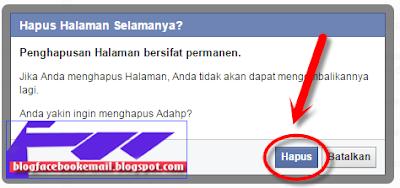konfirmasi menghapus halaman fans page fb