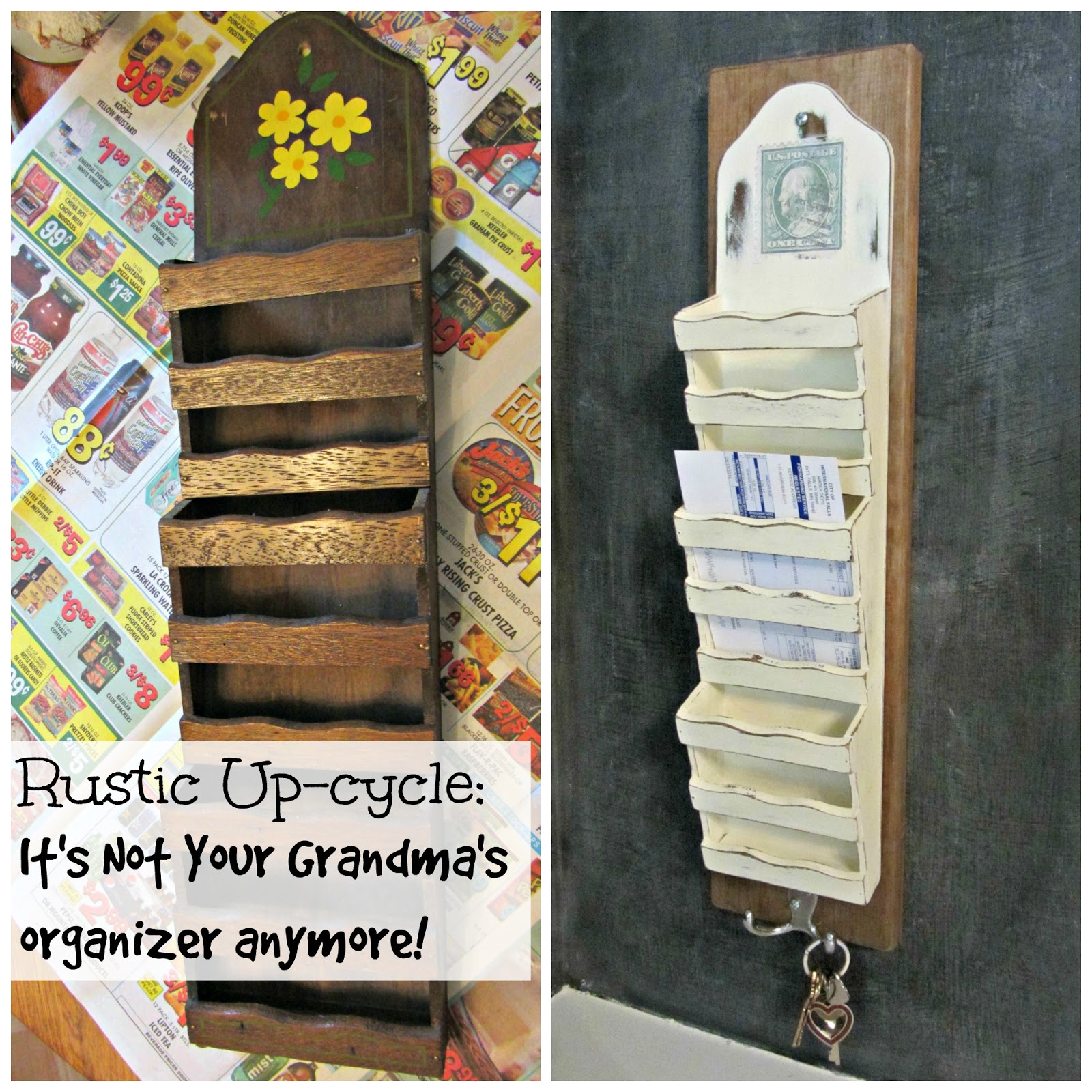 Rustic Up-Cycle of Thrift Shop Mail Organizers www.organizeclutterqueen.blogspot.com