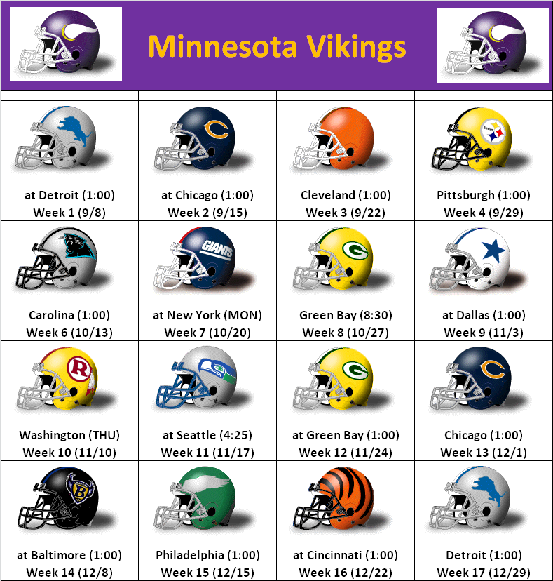 Minnesota Vikings Schedule 2013 2014