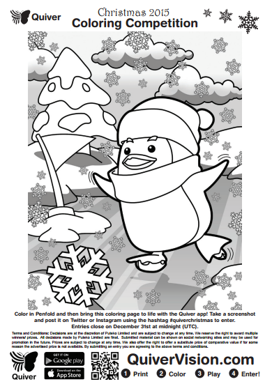 quiver is having a christmas coloring contest using penfold the penguin i love this coloring page you can use it a variety of ways depending on the age