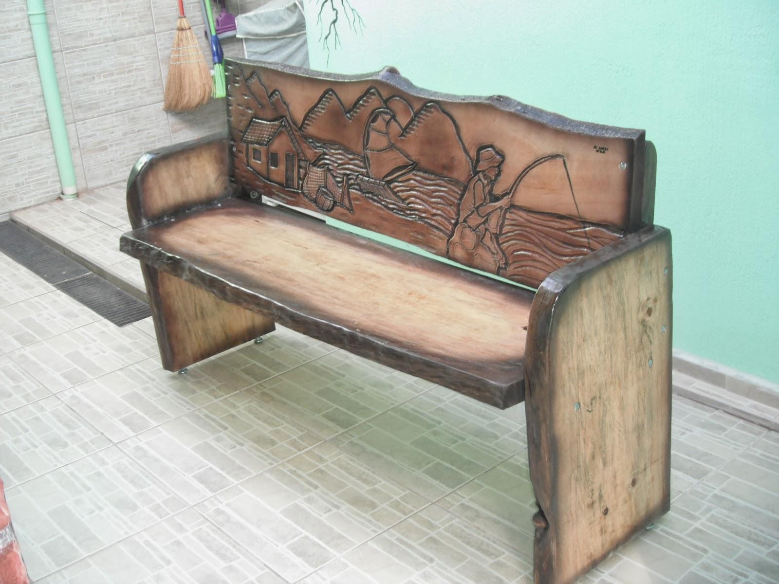 Art madeira entalhes bancos rusticos entalhados - Banco de madera rustico ...