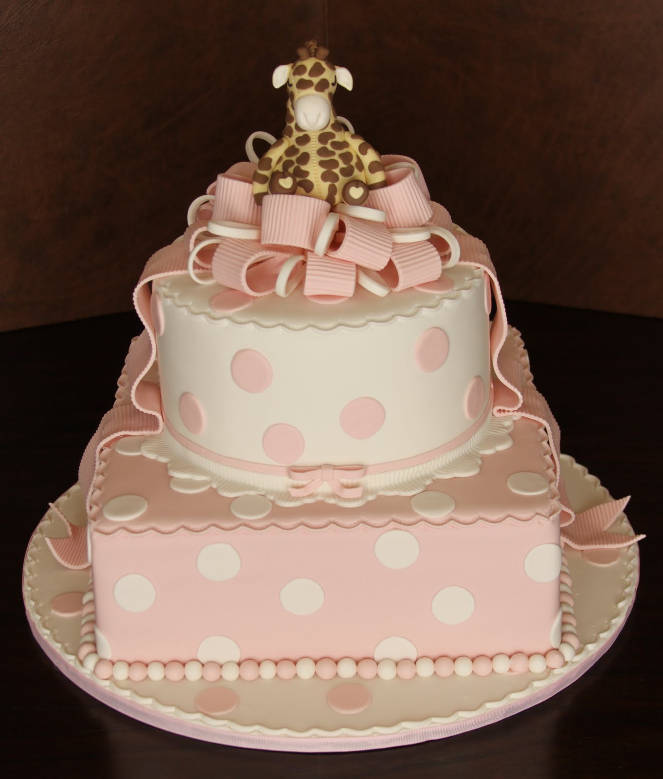 Giraffe Polka Dot Baby Shower Cake