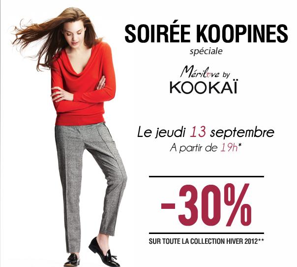 Invitation Soirée KOOPINES: -30% sur la collection, venez accompagnée!