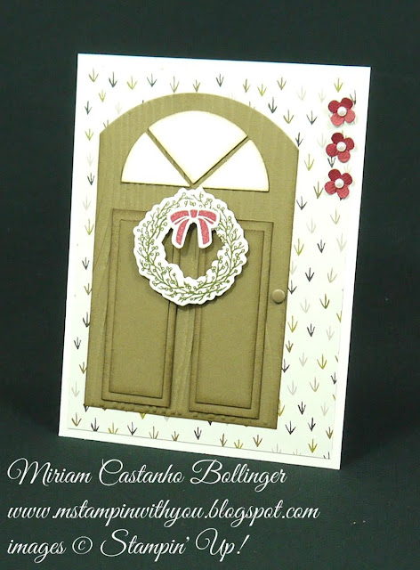 Miriam Castanho Bollinger, #mstampinwithyou, stampin up, demonstrator, mm, new home card, farmer's market dsp, festive fireplace stamp set, festive fireplace framelits, pearls, candy dots, su