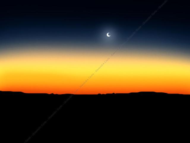 Pintura digital de lua ao anoitecer