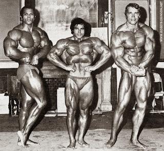 SERGE NUBRET, FRANCO COLUMBU, ARNOLD SCHWARZENEGGER Mr Olympia 1973 ● www.robbyrobinson.net/consultation.php ●