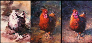 step by step oil painting, chook, rooster