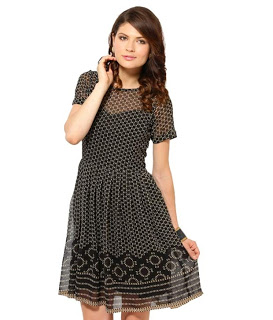 Harpa Black-Cream Printed Poly Georgette Dress