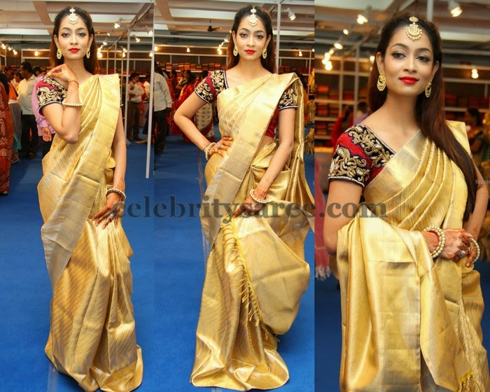 Reshma Rathod Gold Saree