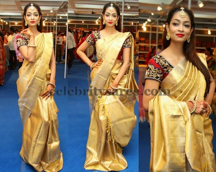 Reshma Rathod Gold Saree
