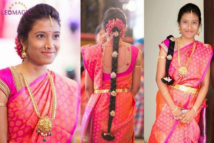 Bride in Dual Shaded Silk Saree