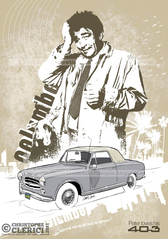 Les illustrations de christophe peugeot 403 columbo - Dessin de voiture ancienne ...