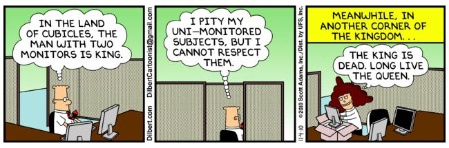 Multi Monitor Tips And Tricks Dilbert And Multiple Monitors