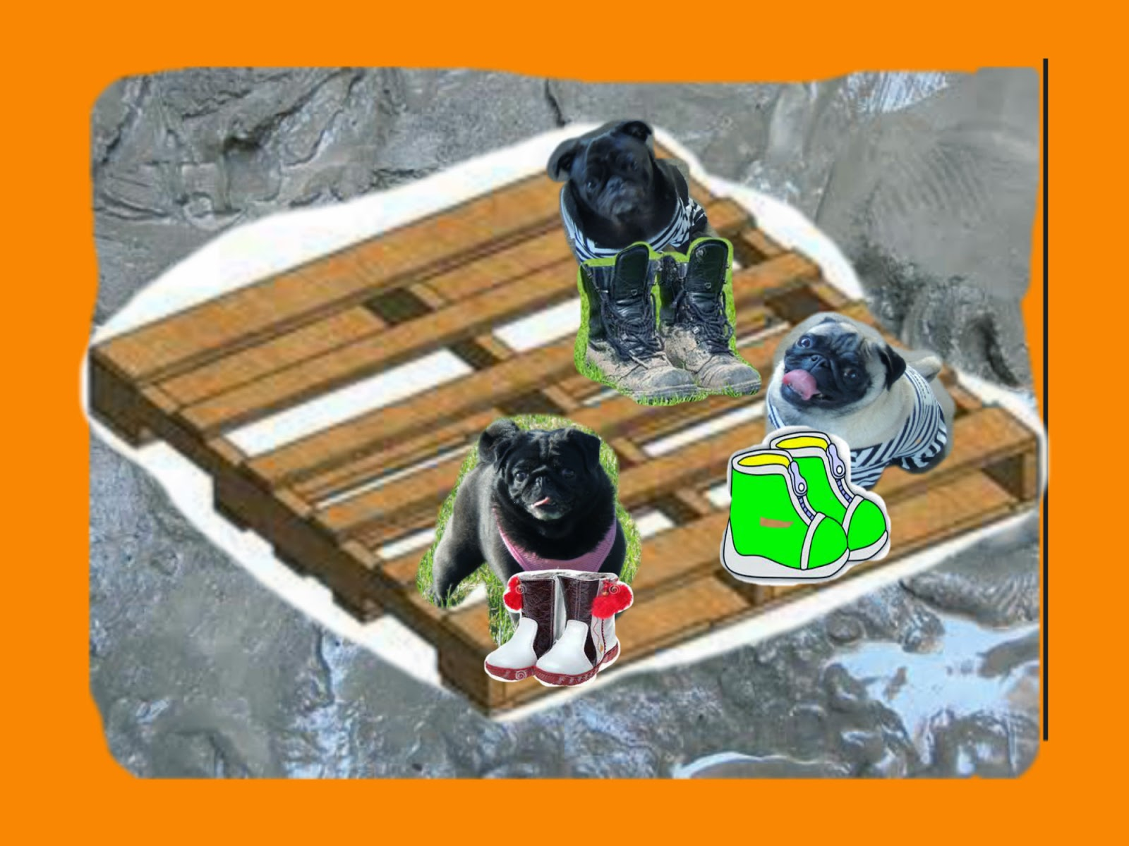 the three little pugs boots in the barnyard
