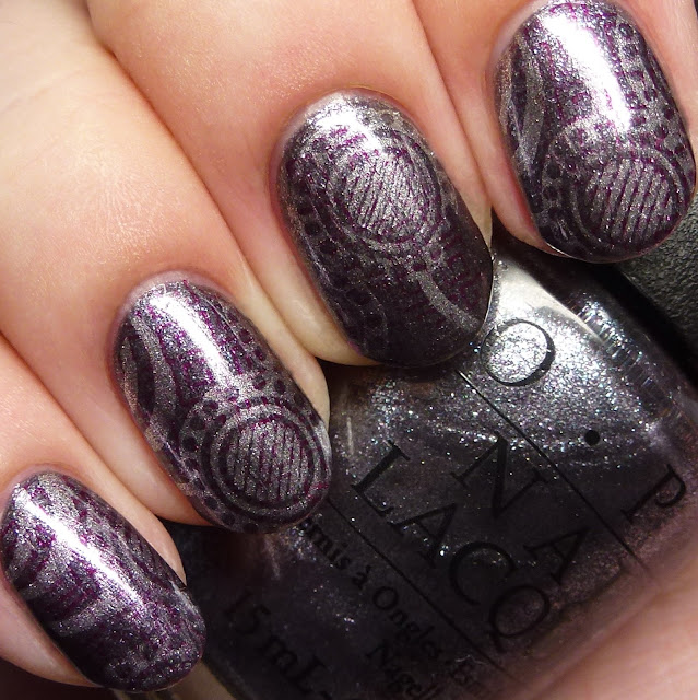 OPI Starlight Collection stamping nail art