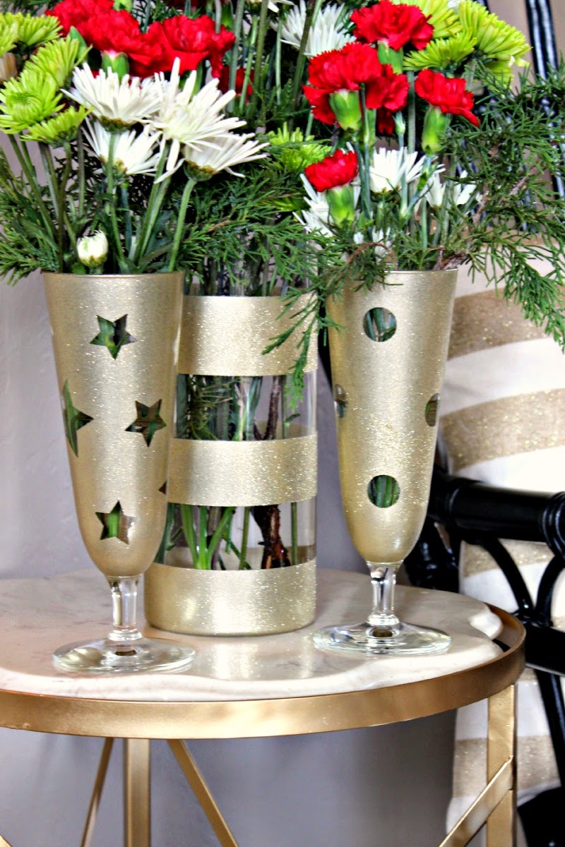 Diy scalloped gold leaf vase dimples and tangles gold glitter spray painted vases reviewsmspy