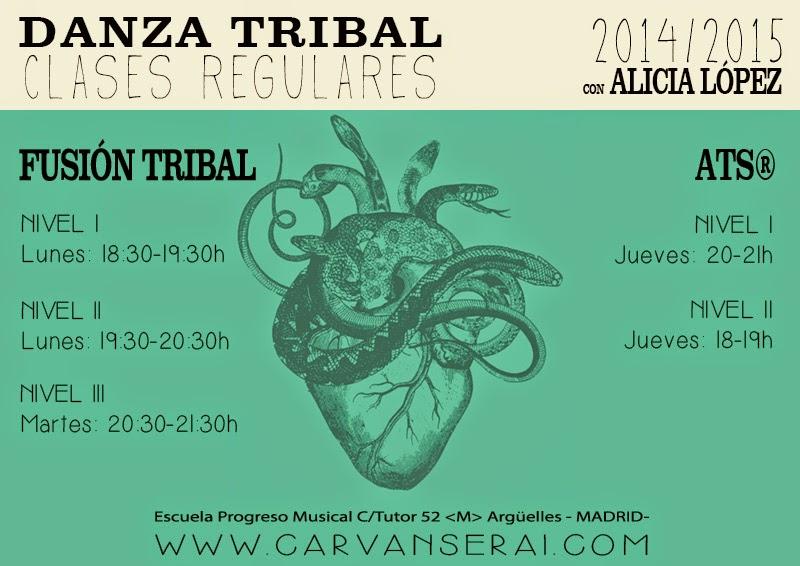 Clases regulares de danza tribal fusion y ATS con Alicia Lopez en Madrid