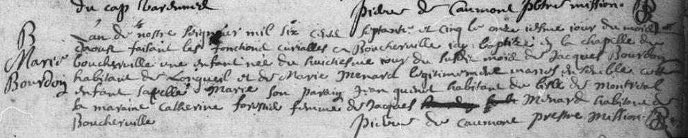 Titre original:  Acte de baptême signé par le père Pierre de Caumont, prêtre missionnaire, 11 août 1675.