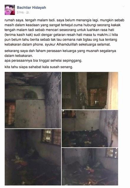 Kisah blogger rumah terbakar