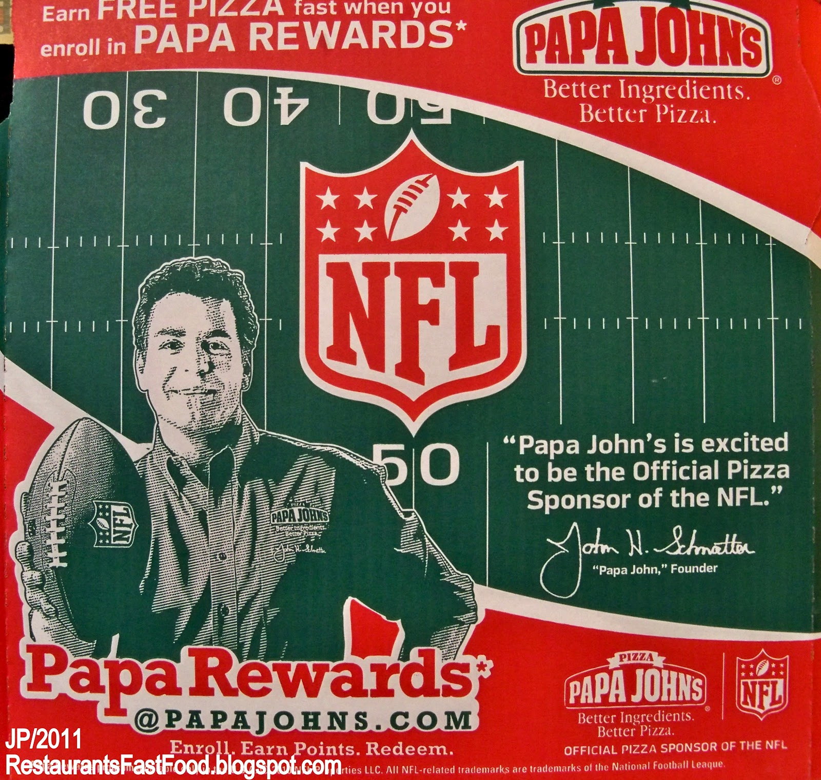 Image result for papa johns pizza of nfl