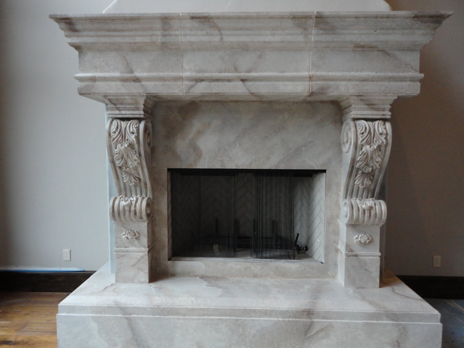 Artistic Murals: White cast fireplaces Hearth and Mantel, painted ...