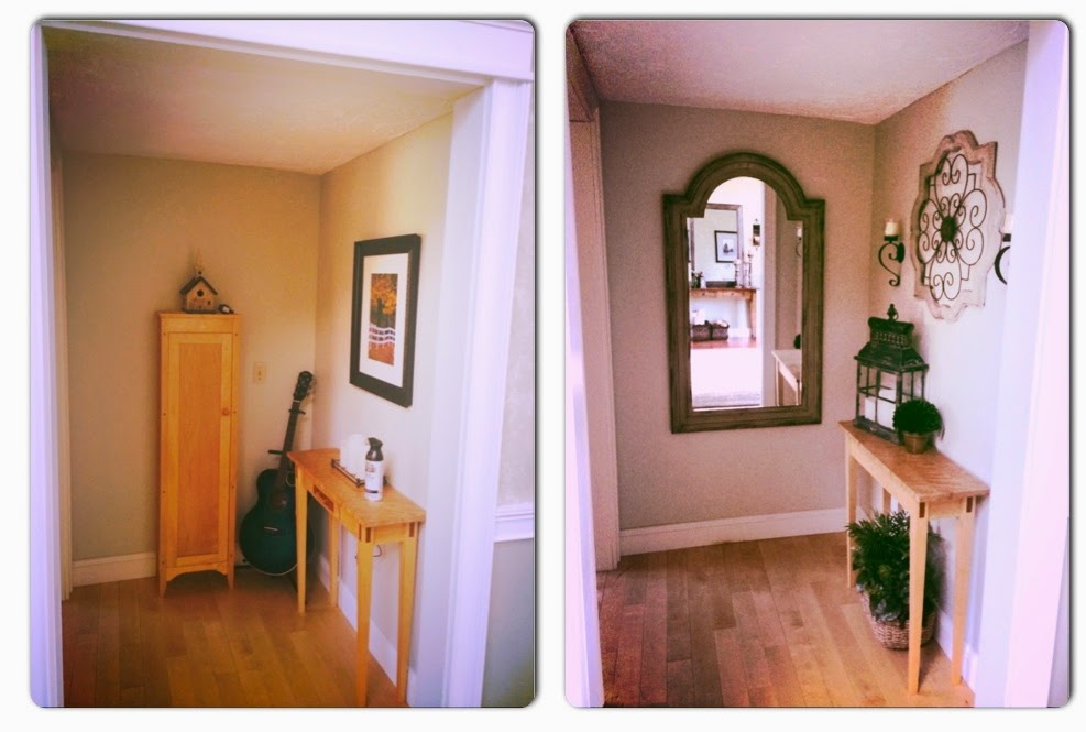 before and after alcove with mirror and tuscan accessories