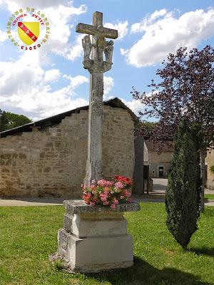 DOMMARTIN-SUR-VRAINE (88) - La croix-calvaire (1611) et l'une des tours du château