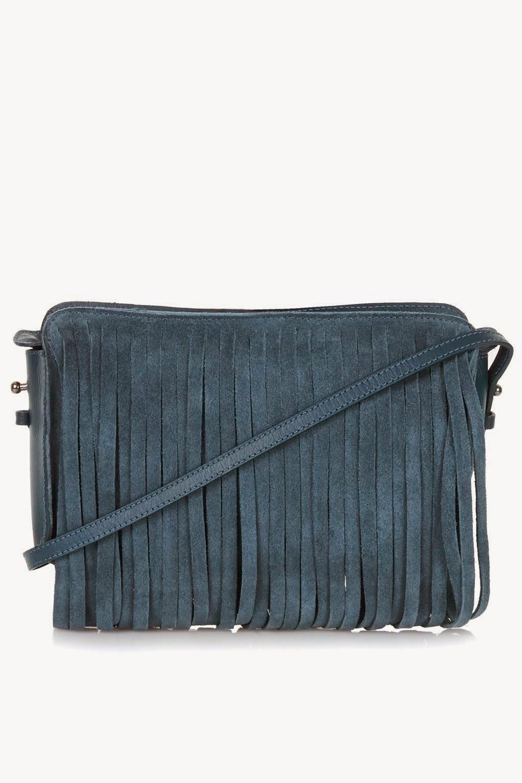 blue suede bag, suede tassel bag,