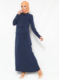 Dress muslim warna polos biru tua