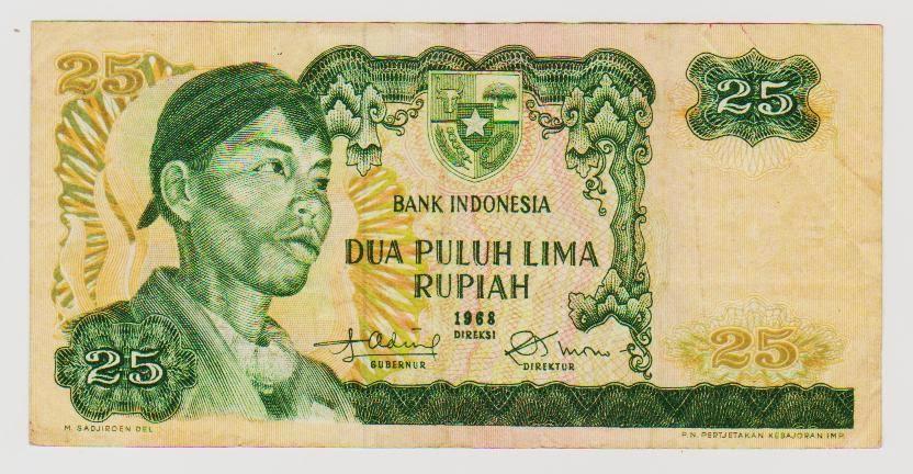 uang kuno Seri Soedirman tahun 1968 Pecahan 25 rupiah