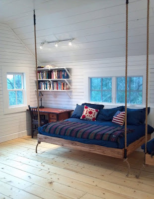 Diseño y decoración de interiores,  dormitorio con cama colgante