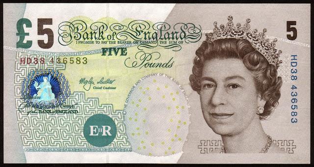 British Banknotes 5 Pound Sterling note 2002 Queen Elizabeth II