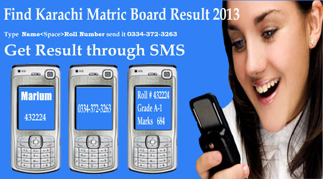 BSEK Karachi Board Secondary Education result Through SMS
