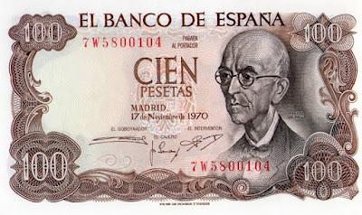 Billete de 100 pesetas decicado a Manuel de Falla