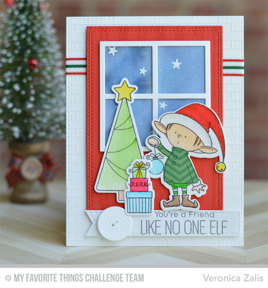 No One Elf Card by Veronica Zalis featuring the Birdie Brown Santa's Elves stamp set and Die-namics and the Brick Wall Cover-Up, Windown, and Vintage Buttons Die-namics #mftstamps