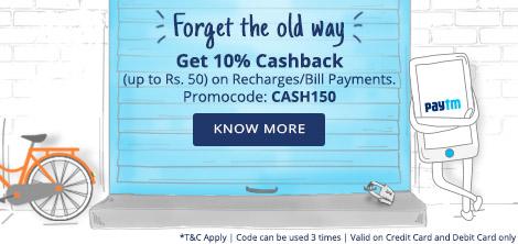 Paytm CASH150 10% cashback