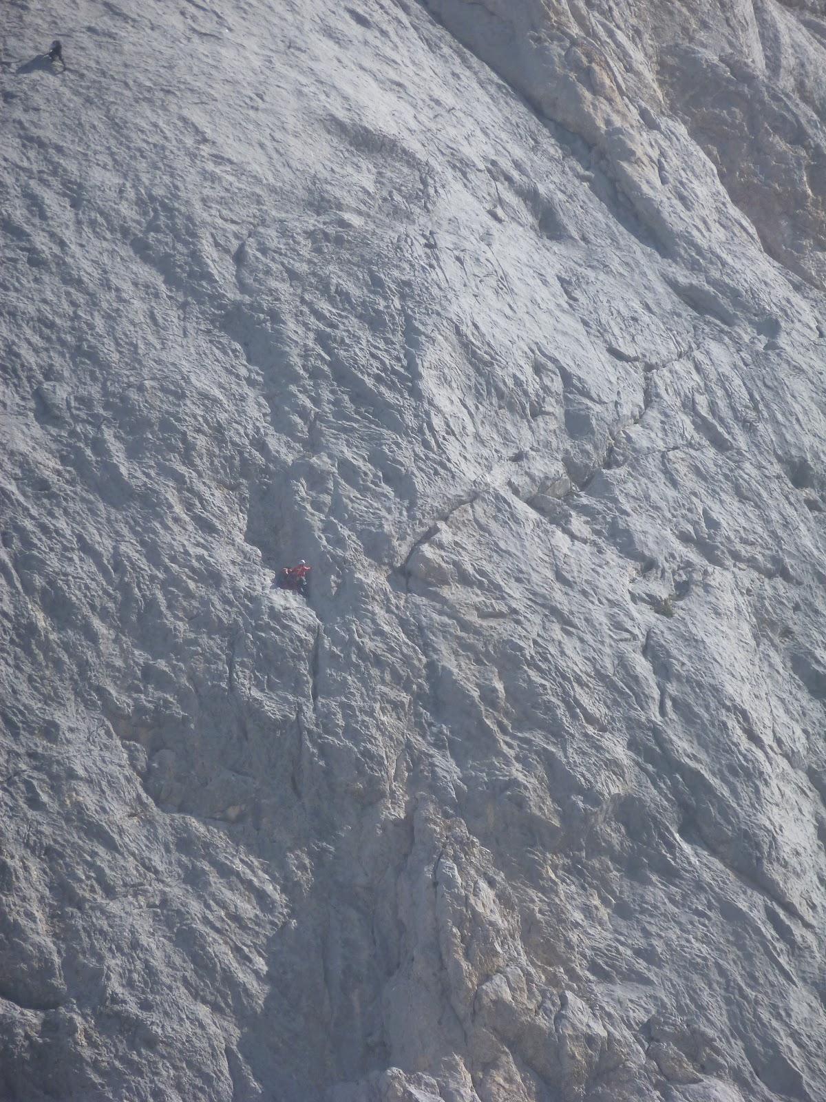 Climbers high on the Naranjo de Bulnes