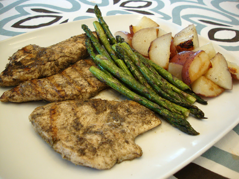 my back pages: garlic-marinated chicken cutlets with grilled potatoes