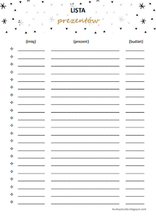 lista prezentów - planner świąteczny | lvlupstudio