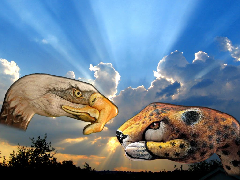 Contoh gambar ilustrasi tangan berujud binatang dengan latar belakang
