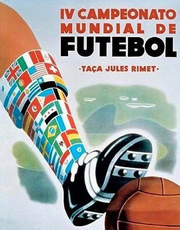 Cartaz que apresentava a Copa do Mundo no Brasil, em 1950. Homenagem ao Rio de Janeiro.