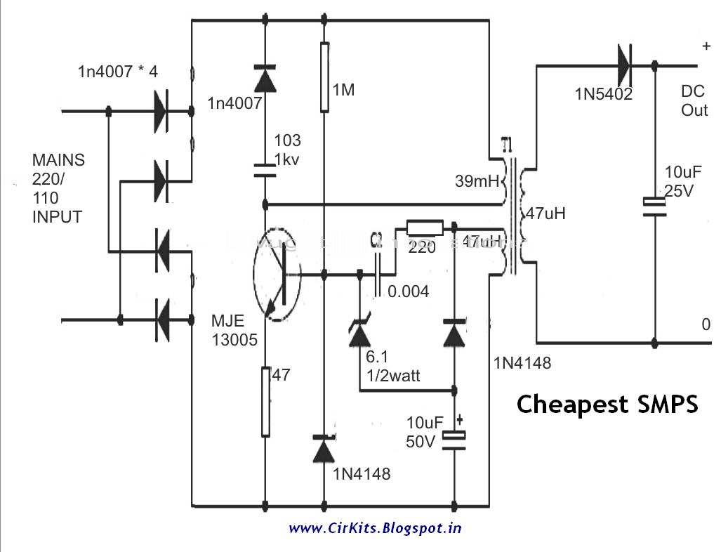 Smps Schematic Diagram 450 W Circuit Cheapest Using Mje Everyday Electronics Cirkits Blogspot Com Computer 1027x786